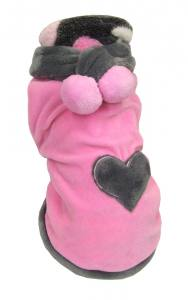 Hundepulli BIG HEART ROSA/GREY
