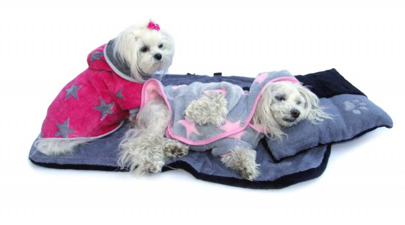 e6a1dcfbaf3d90 Doppelseitiger Bademantel für Hunde ROSA-GREY STERNCHEN