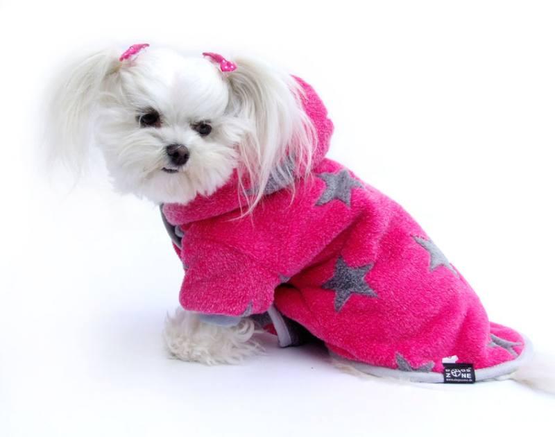 db8107cd043ece Doppelseitiger Bademantel für Hunde PINK STERNCHEN