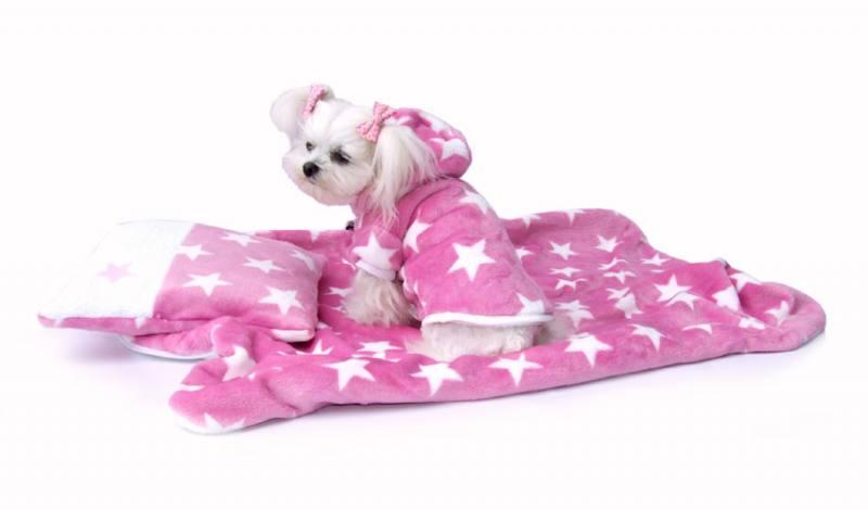 04fcd477436cfc Doppelseitiger Bademantel für Hunde ROSA STERNCHEN ab XS